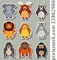 Sticker design with many wild animals 33862966
