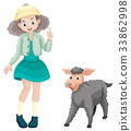 Cute girl and little lamb 33862998
