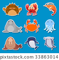 Sticker design for sea animals 33863014