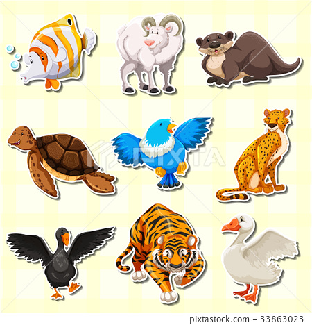 Sticker design with cute animals 33863023