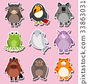 Sticker design with cute animal characters 33863031