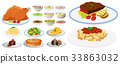 Different types of food on plates 33863032