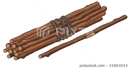Single stick and bunch of sticks 33863033