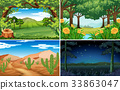 Four scenes of forest and desert 33863047