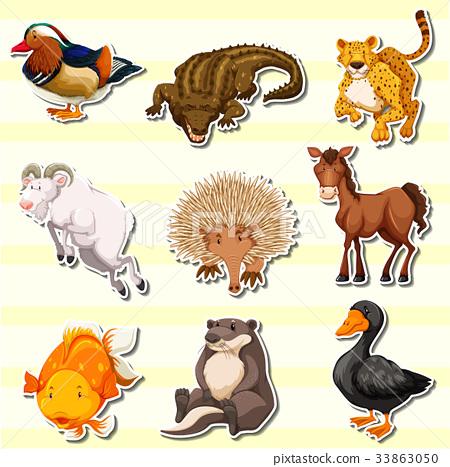 Wild animals in sticker set 33863050