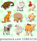 Sticker design with many creatures 33863216