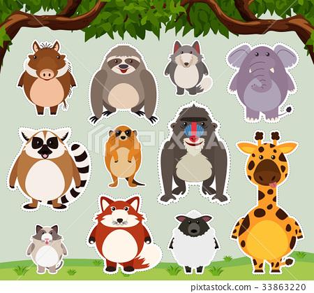 Sticker design for wild animals in the field 33863220