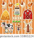 Sticker design for farm animals 33863224