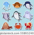 Sea animals on blue background 33863240
