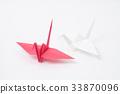 红色和白色起重机,折纸 33870096