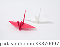红色和白色起重机,折纸 33870097