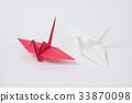 红色和白色起重机,折纸 33870098