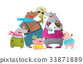 Bear Family Father Mother Kids and Newborn Baby 33871889