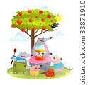 Bear Family Mother with Kids Eating Apple Jam 33871910