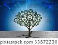 Cogwheel tree growing through soil crack 33872230