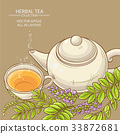 cup of licorice tea and teapot 33872681