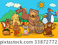 animals and food cartoon group 33872772