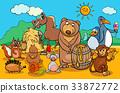 animals and food cartoon group 33872772