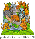 cat characters group cartoon illustration 33872778