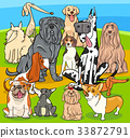 purebred dogs cartoon characters group 33872791