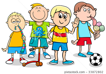 kid boys with toys cartoon illustration 33872802