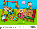 cartoon children characters on playground 33872807