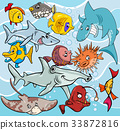 fish cartoon animal characters group 33872816