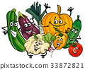 vegetable characters group cartoon illustration 33872821