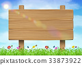wooden board sign on grass sky background 33873922