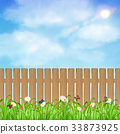 wood fence with grass flower and sky background 33873925