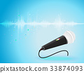 digital sound wave oscillating with Microphone 33874093