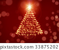 Glowing Christmas Tree Over Red Holiday Background 33875202