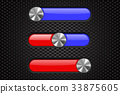 Interface slider bar. Red and blue bar on metal 33875605