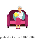 Senior woman character sitting on the sofa and 33876084