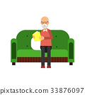Senior man character sitting on green sofa and 33876097