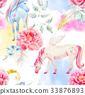 Watercolor vector unicorn and pegasus pattern 33876893
