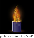 Burning Blue Book with Fire Flame 33877705