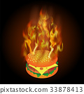 Burning Fresh Hamburger with Fire Flame 33878413