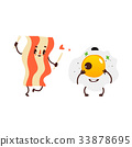 Funny sunny side up egg and fried bacon strip 33878695