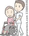 一件白色外套的一位男性護士推擠由祖母運載的輪椅的例證 33880406