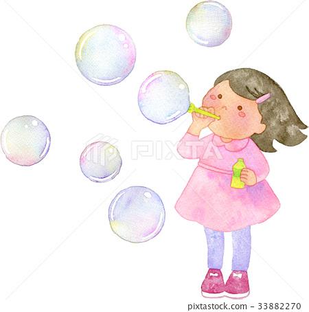 Girls blowing soap bubbles 33882270