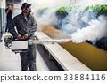 The man's fogging to eliminate mosquito 33884116