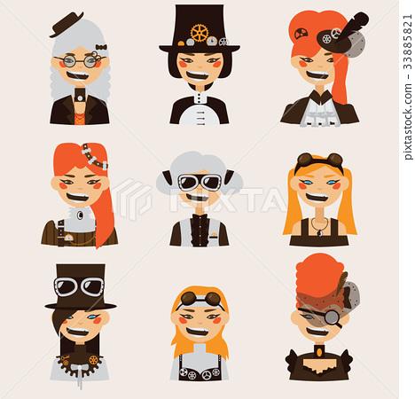 Vector set lovely smiling steampunk girls portrait 33885821