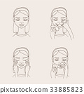 Cartoon young woman taking care of her skin 33885823