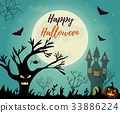 Halloween night background with creepy house 33886224
