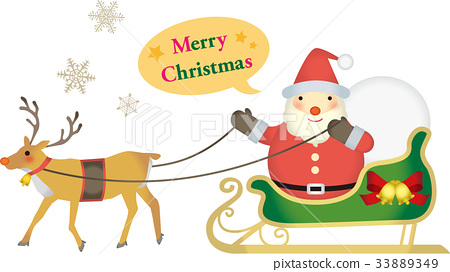 Merry Christmas Letters and Reindeer and Santa Claus 33889349
