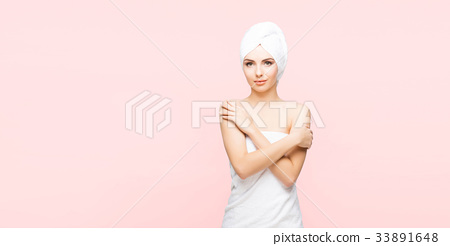Young, beautiful woman after taking a shower 33891648