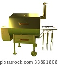 Gold BBQ Grill. 3d illustration 33891808