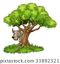 Cartoon Fairytale Big Bad Wolf and Tree 33892321