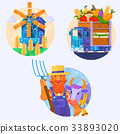 Organic food icons. Rural summer landscape with 33893020